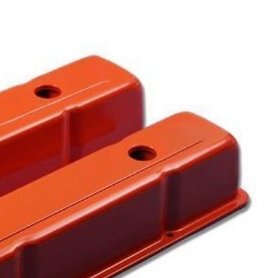 Small Block Chevy 58-86 Steel Orange Tall Valve Cover 283 327 350 400 SBC