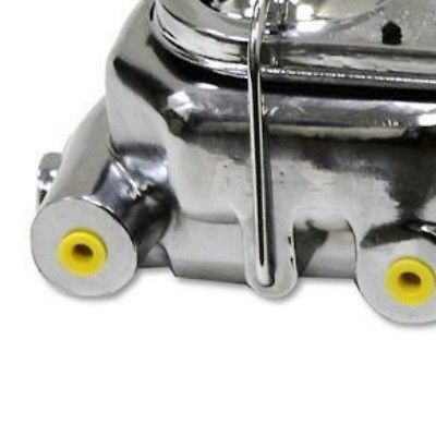 "Universal GM Chevy Chrome Cast Iron Dual Bail Cap Master Cylinder 1"" Bore 4 Port"