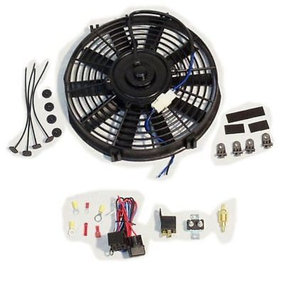 "Electric 9"" straight blade cooling radiator fan 12V 800cfm with Relay Thermostat Kit"