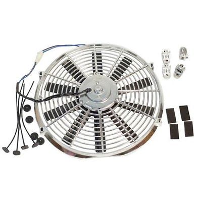 "16"" Chrome Straight Blade Cooling Fan with Thermostat Relay Kit&3""X 10"" Inch Radiator Overflow Tank&48"" Radiator Hose"