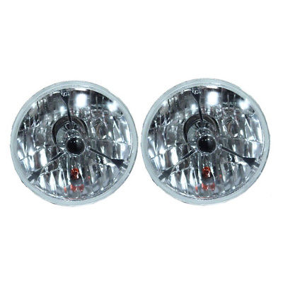 "5 3/4"" Black Dot Tri bar H4 Headlights With Turn Signal Push in Bulb lamps"
