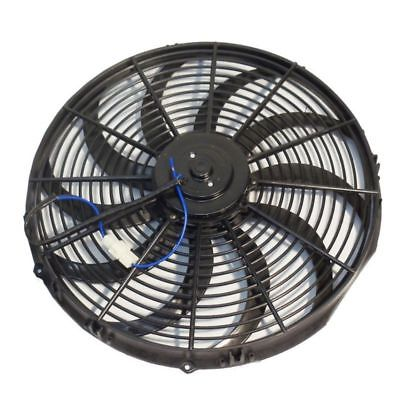"16"" Electric HD Curved Blade Reversible Cooling Fan 12v 3000cfm & Thermostat Kit"
