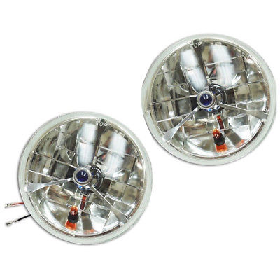 "7"" Blue Dot Tri bar H4 Headlights With Turn Signal Push in Bulb lamps"