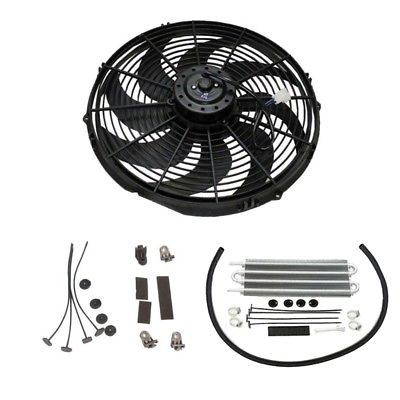 "16"" Heavy Duty Radiator Electric Wide Curved Blade Fan & 15-1/2"" x 5"" x 3/4"" Transmission Oil Cooler"