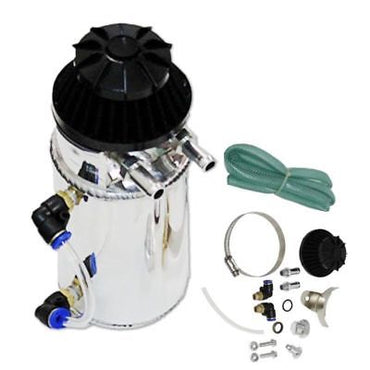 Chrome Polished Aluminum Oil Reservoir Catch Can Tank With Breather Filter