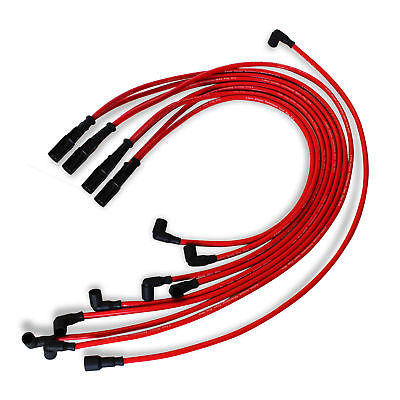 9.5 mm Red Straight Spark Plug Wires Distributor HEI For Chevy BBC SBC SBF 302 350