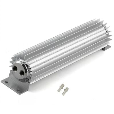 "15"" Satin Aluminum Finned 2 Dual Pass Transmission Cooler w/ fittings"