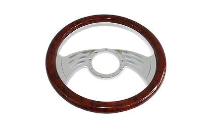 "14"" Billet Steering Wheel with Simulated Mahogany Wood Wrap"