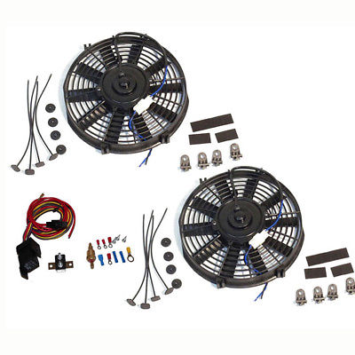 "Dual Electric 10"" straight blade cooling radiator fans 12V w/ Heavy Duty Theremostat Kit"