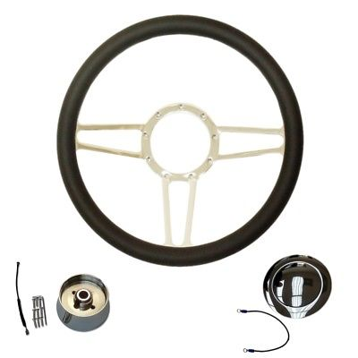 "14"" Chrome Billet Aluminum Spear Steering Wheel & adapter& smooth horn Button"