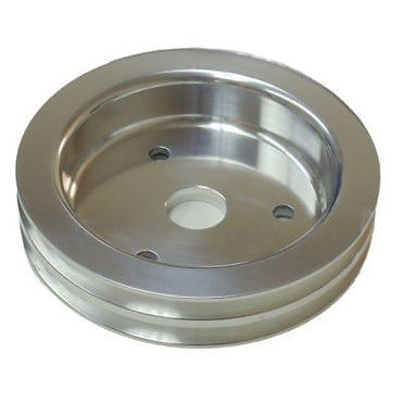SBC Chevy Aluminum Crank Pulley Double 2 Groove For Short Water Pump SWP 350 400
