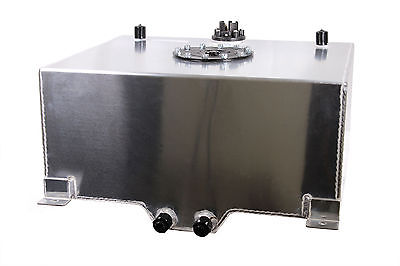 13 Gallon Polished Aluminum Racing Drift Fuel Cell Gas Tank with Level Sender