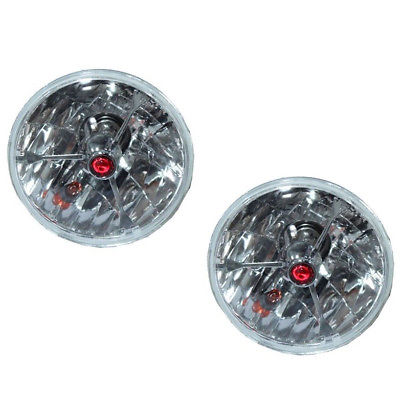 "5 3/4"" Red Dot Tri bar H4 Headlights With Turn Signal Push in Bulb lamps"
