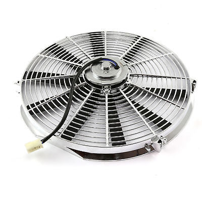 "Electric 16"" chrome Straight Blade Reversible Cooling Fan 12v 3000cfm"