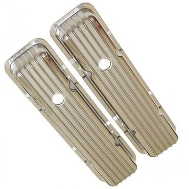 SBC Small Block Chevy Finned Short Polished Aluminum Valve Covers W/ Holes 350