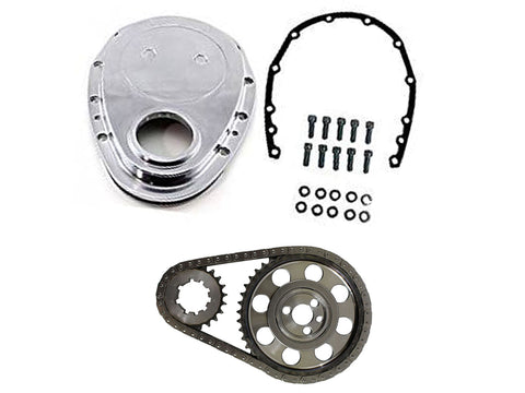 For SBC Late 350 Polished Aluminum Timing Chain Kit & Polished Aluminum Cover