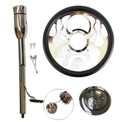 "14"" Billet Chrome Ripple Style Steering Wheel & Manual Steering Column 30"" GM No Key & Flame Horn Button"