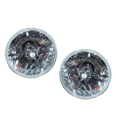 "5 3/4"" Clear Dot Tri bar H4 Headlights With Turn Signal Push in Bulb lamps"