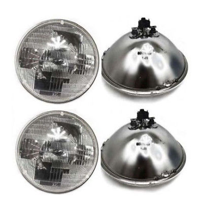 "7"" Round Sealed Beam Glass Headlight Head Lamp Light Bulb 12V (2 pairs)"
