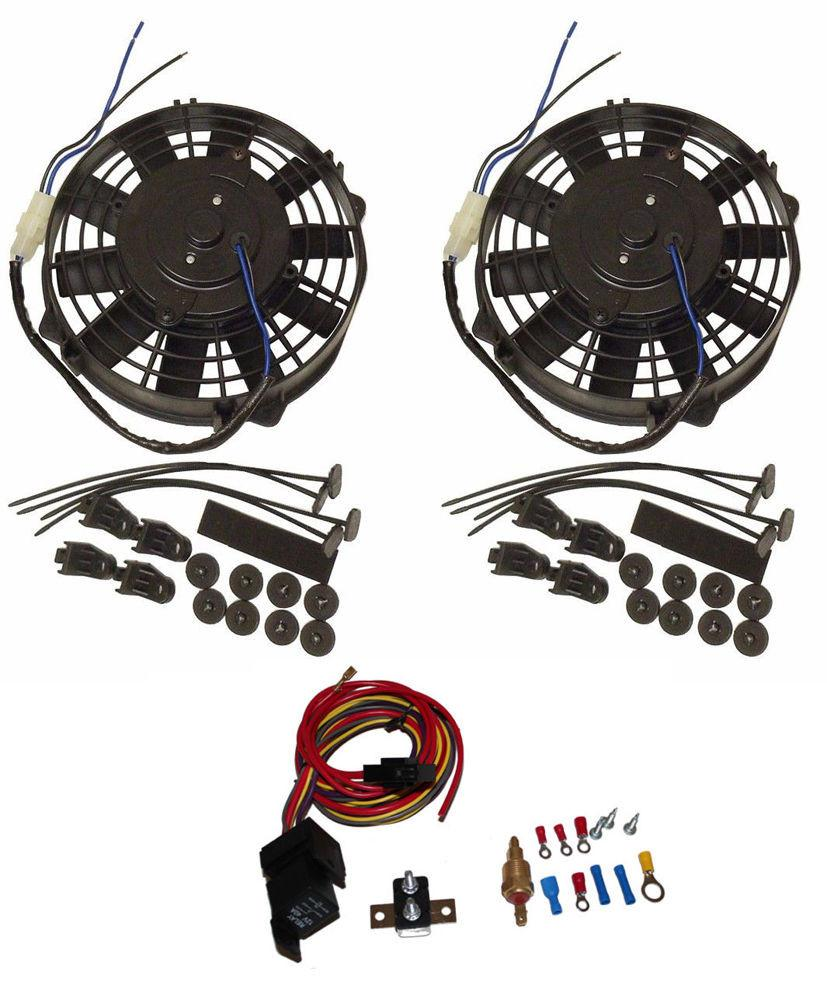 2 sets 8'' Heavy Duty Straight Blade Electric Radiator Fan 12v Thermostat Kit
