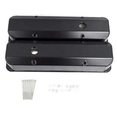 SB CHEVY Black Coated Fabricated Aluminum Tall Valve Covers 1/4 inch Billet Rail SBC 350 383 400