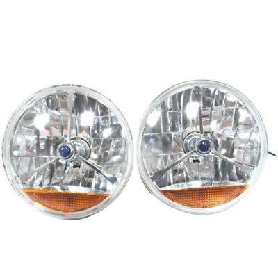"For Chevy, Ford, Mopar 7"" Blue Dot and Orange Turn Signal Tri Bar Headlights"