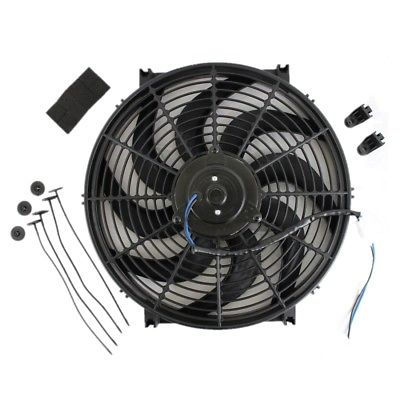 Universal High Performance Wide Curved 12V Electric Cooling Radiator Fan with Mounting Kit (14 Inch, Black)