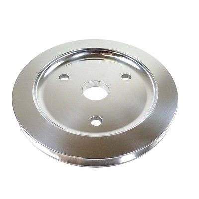 SBC Polished Aluminum Short Water Pump Single Groove Crank Pulley