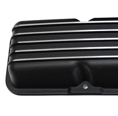 Black CoatedShort Chevy Center Bolt Valve Covers SBC Small Block 305 350