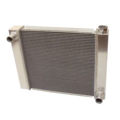 "Fabricated Aluminum Radiator 24"" x 19"" x 3"" Overall For SBC BBC Chevy GM&12"" Electric Curved Blade Cooling Fan"