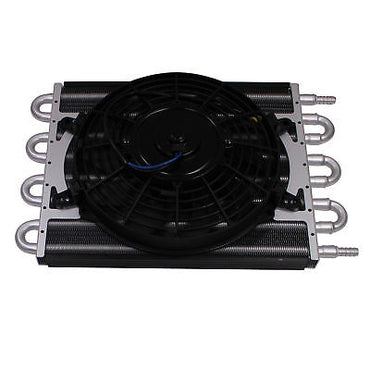 Heavy Duty Transmission Aluminum Oil Cooler with 9'' Electric Fan