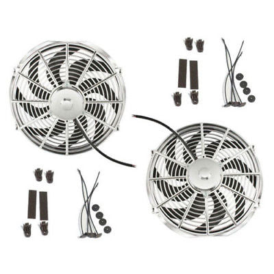 "Dual Chrome 12"" Curved Blade Reversible Cooling Fans 1400cfm w/ Mounting Kit"