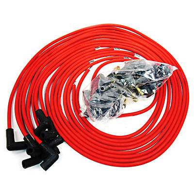 9.5 mm Red 90 Degree Spark Plug Wires For Distributor Chevy BBC SBC SBF 302 350 454