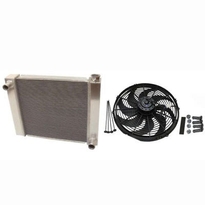 "Fabricated Aluminum Radiator 22"" x 19"" x3"" Overall For SBC BBC Chevy GM With 16 Inch Electric Fan"
