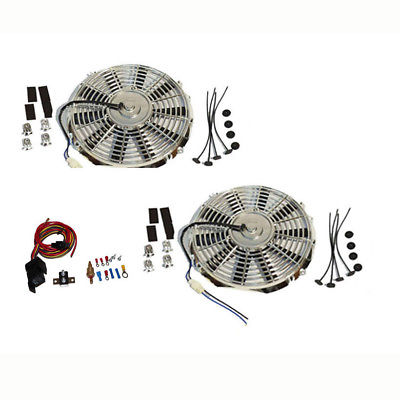 "2 Sets Electric 10"" Chrome Straight Blade Cooling Radiator Fan 12V 850 CFM with Heavy DutyThermostat Kit"