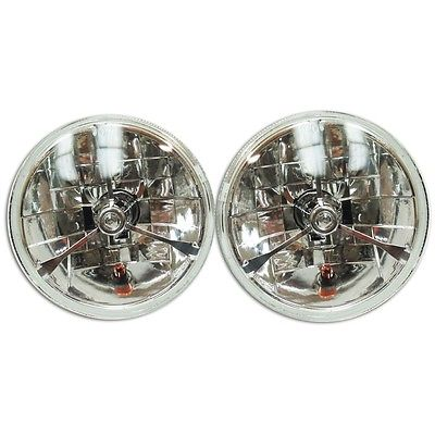 "7"" Clear Dot Tri bar H4 Headlights With Turn Signal Push in Bulb lamps"
