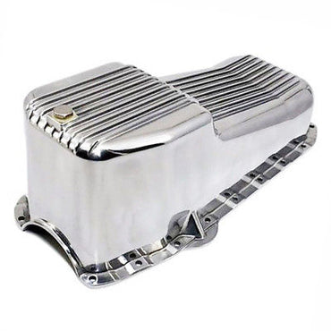 SBC Chevy Finned Polished Aluminum Oil Pan - Small Block 283 305 327 350