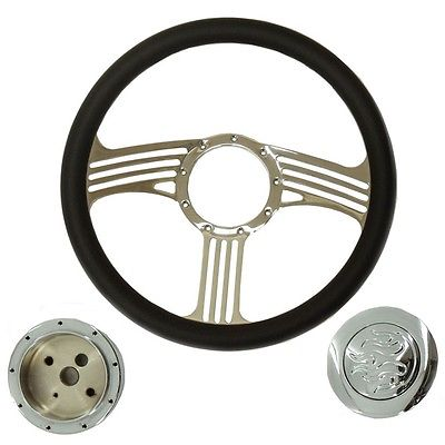 "14"" Blade Chrome Steering Wheel Half Wrap Leather &Flame horn button & Adapter"