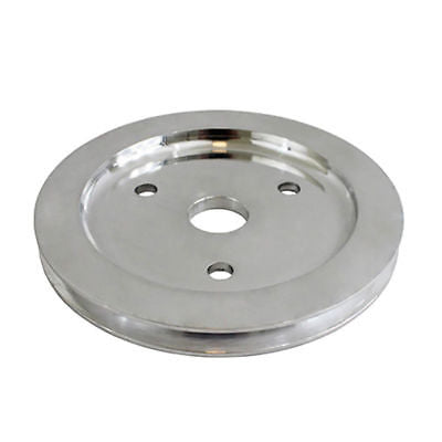 SBC Polished Aluminum Long Water Pump Single Groove Pulley