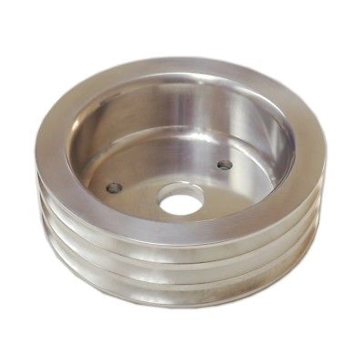 SBC Chevy Aluminum Crank Pulley 3 Triple Groove SWP Short Water Pump
