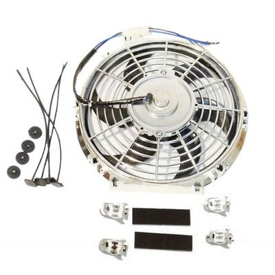2 Sets Universal High Performance 12V Slim Electric Cooling Radiator Fan With Fan Mounting Kit (10 Inch, Chrome)