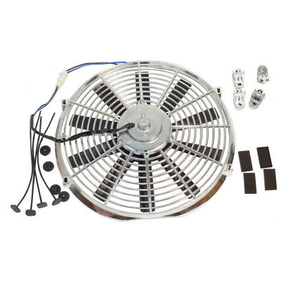 "Electric 14"" Chrome Straight Blade Reversible Cooling Fan 12v 1900cfm"