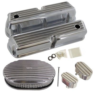 For SB Ford Finned Aluminum Valve Cover Kit w/Air Cleaner & Breather 260 289 302