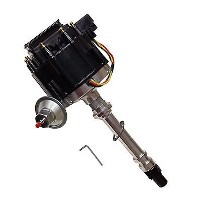For SBC BBC Chevy 305 350 454 V8's HEI Coil Distributor w/Two Black Cap 50k 50,000 Volt