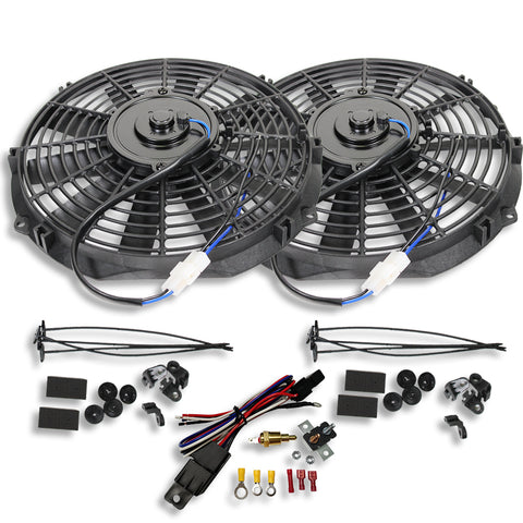 "Dual Electric 10"" straight blade cooling radiator fans 12V w/ Theremostat Kit"