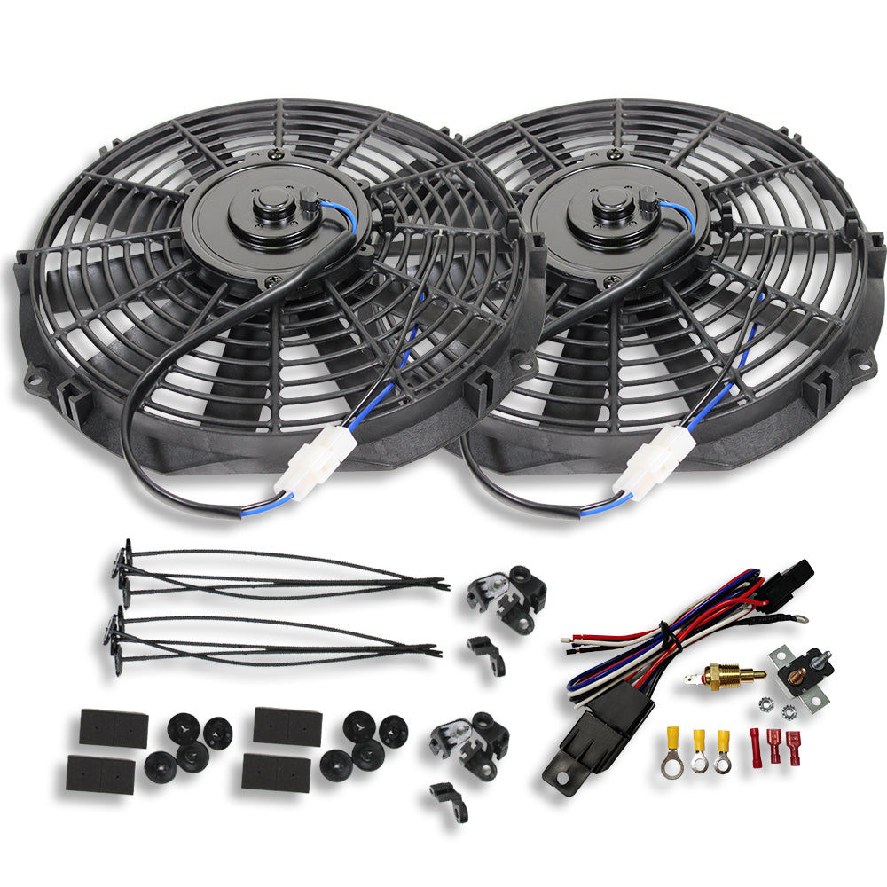 "2 Sets Super Dual Electric 12"" Straight Blade Reversible Cooling Fans 1400 CFM 12v with Thermostat Kit"