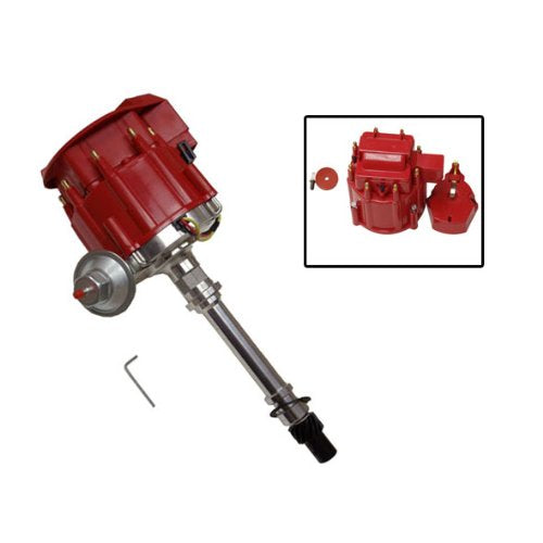 SBC BBC Chevy 305 350 454 V8's HEI Distributor with Two Red Caps 65k 65,000 Volt