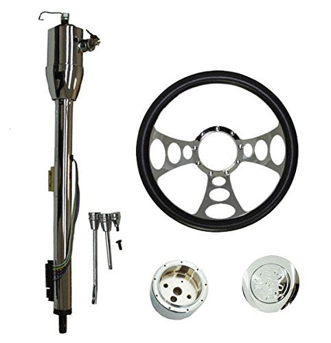 "14"" Chrome Nine Hole Steering Wheel & Manual Style Steering Column 32"" GM With Key&Horn Button"