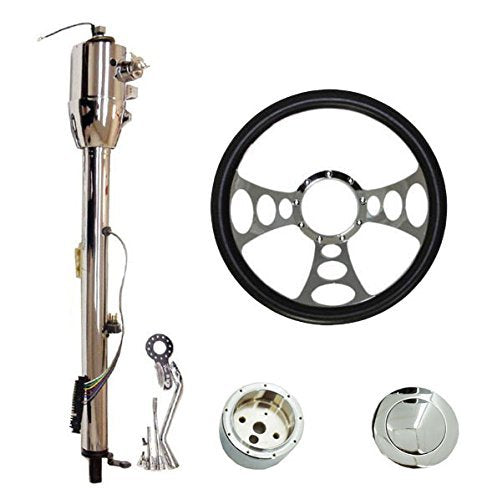 "14"" Chrome Nine Hole Steering Wheel & Automatic Style Steering Column 32"" GM With Key&Horn Button"