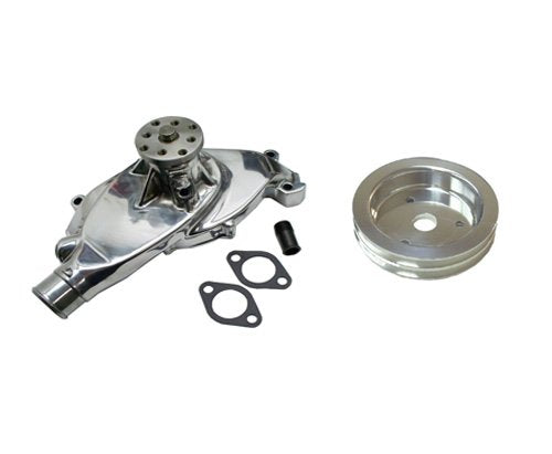 BBC Chevy 396 427 454 Short Chrome Aluminum Water Pump High Volume & Double Groove SWP Crank Pulley